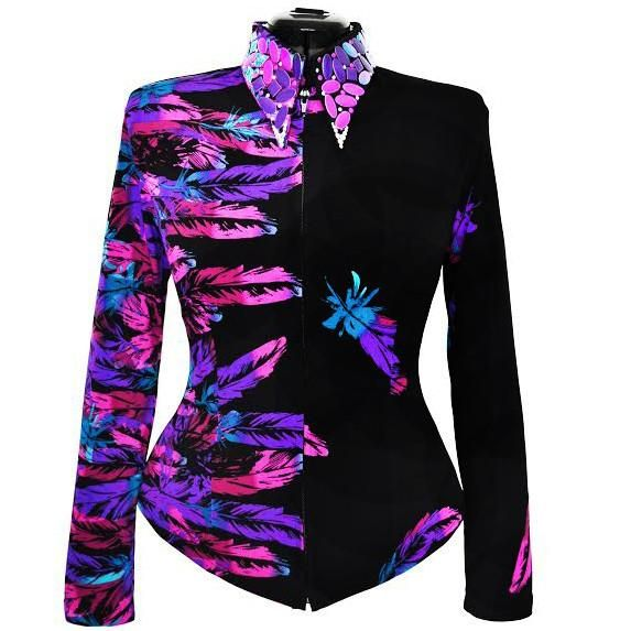Vivid Feathers Show Shirt. Limited-edition western show shirt in sizes XS - 4X  Another bold designer-inspired shirt. Brightly colored feathers wrap around in a mix of fuchsia, purple, aqua and deep mauve. The collar is embellished with tons of bling in coordinating colors and iridescent crystals.