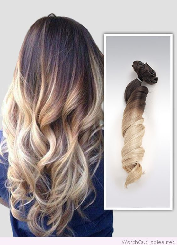 Brown to blonde ombre balayage hair extensions
