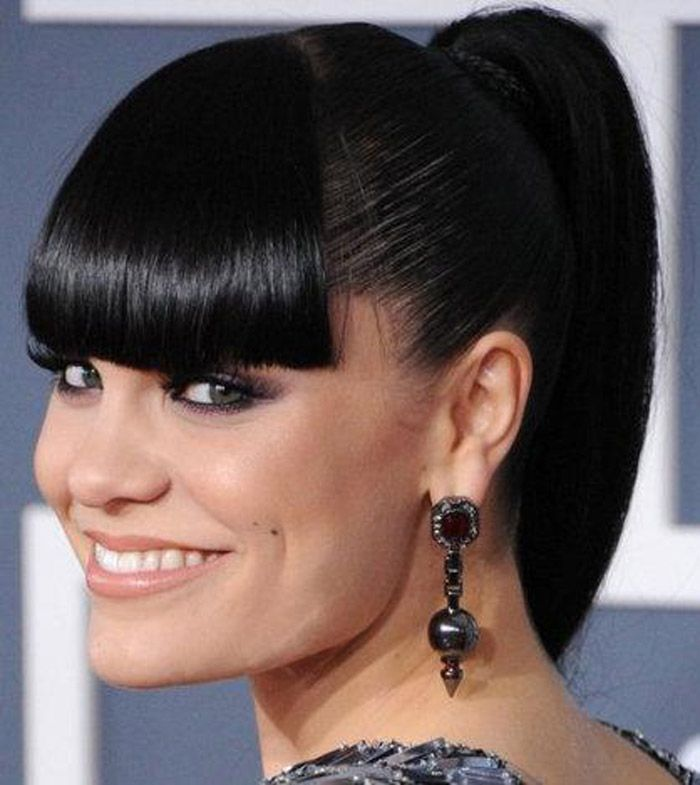 Black Hairstyles With Bangs Ponytail ~ http://wowhairstyle.com/black-hairstyles-with-bangs/