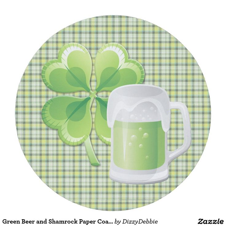 Green Beer and Shamrock Paper Coaster
