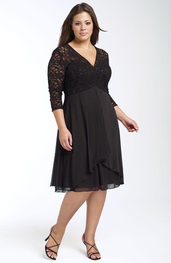 Buyuk Bedenler Icin En Sik 2020 Abiye Elbise Modelleri Siyah Dizboyu Uzun Kollu V Yakali Dantel Detayli Elbise Modelleri Elbise The Dress