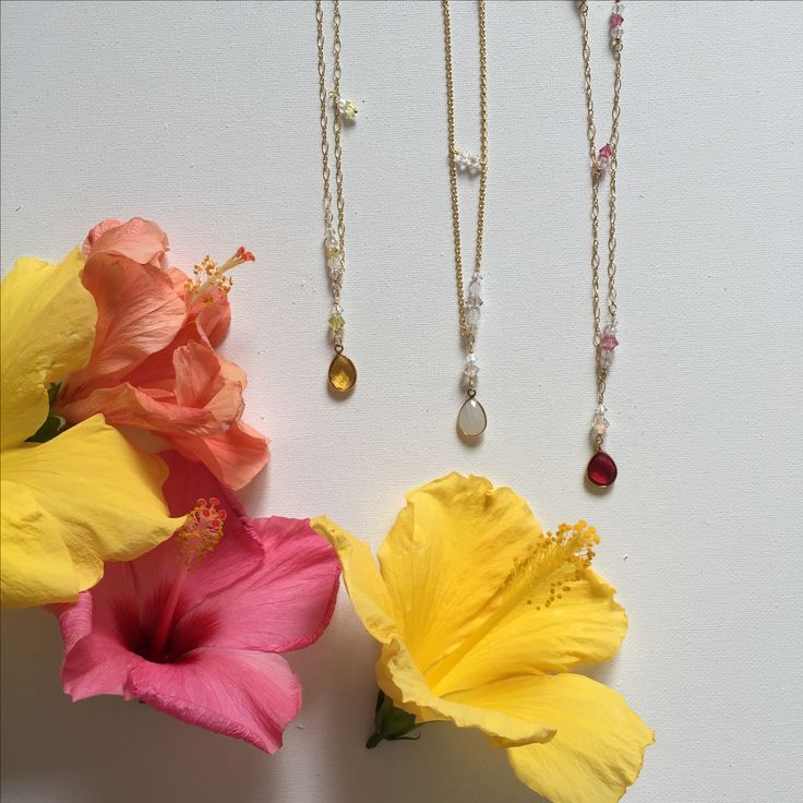 Dainty gemstone necklaces  #tropicalvibes #fashion #jewelry