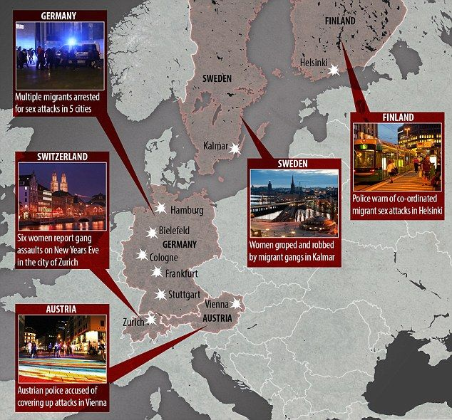 Migrant rape fears spread across Europe: Women told not to go out at night alone after assaults carried out in Sweden, Finland, Germany, Austria and Switzerland amid warnings gangs are co-ordinating attacks  Read more: http://www.dailymail.co.uk/news/article-3390168/Migrant-rape-fears-spread-Europe-Women-told-not-night-assaults-carried-Sweden-Finland-Germany-Austria-Switzerland-amid-warnings-gangs-ordinating-attacks @MailOnline