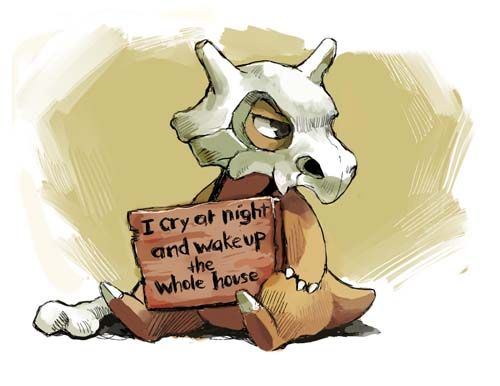 Pokemon Shaming -- Cubone. His mother was murdered by Team Rocket and he mourns at night. Poor thing! #Pokemon #Pokeshaming #Cubone---why would you even shame him!?