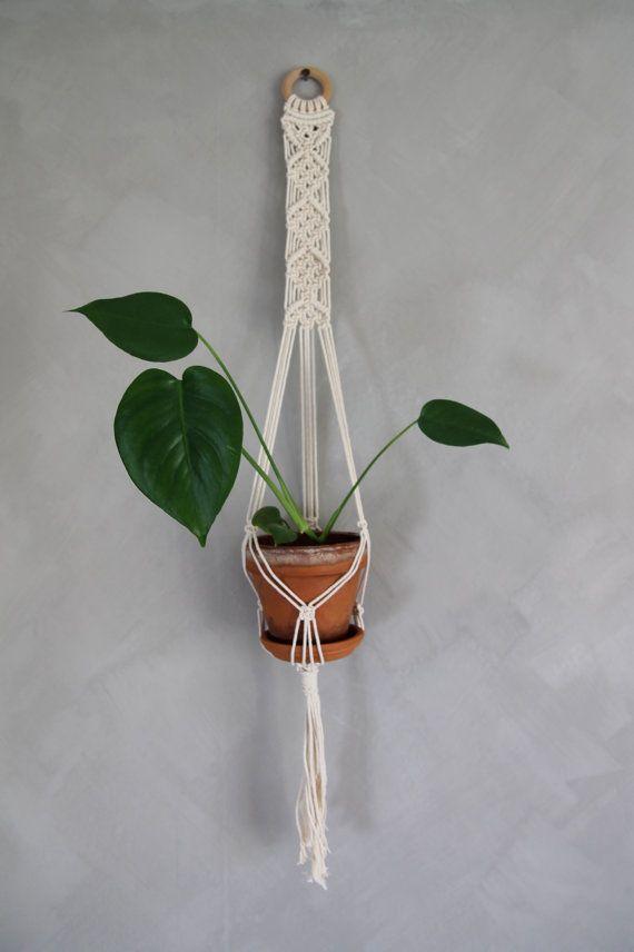 "Macramé Plant Hanger ""Bethany"" - ByHelgaM on Etsy / Planthanger / Wall Hanger / Wallhanger / Wall Plant Hanger / Handmade Macrame / Boho Decor / Scandic Deco / Retro Plant Hanger / Monstera / Mini Monstera / Mini Plant"