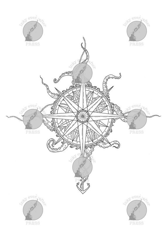 Nautical Compass A4 Printable Coloring Page For Adults Mysteries