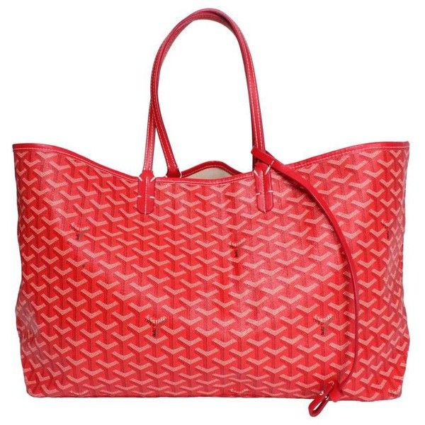 Goyard St Louis Red Tote ($25) ❤ liked on Polyvore featuring bags, handbags, tote bags, tote purses, red handbags, red tote, goyard handbags and red purse