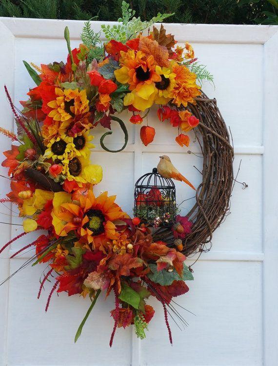 Herbst Kranz Herbst Kranze Blumen Tur Kranz Vogelkafig Vogel