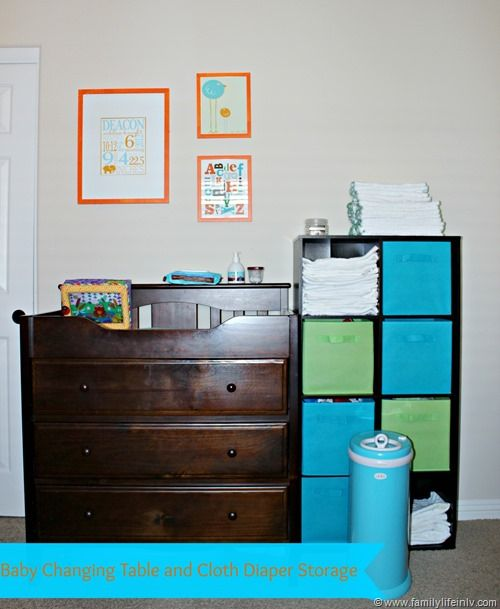 Baby Changing Table Cloth Diaper Storage Cloth Diapers..next kiddo we need this setup