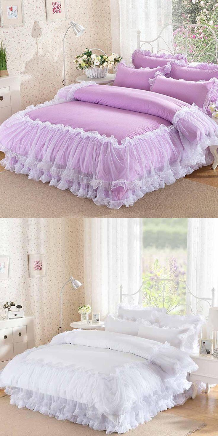 Korean Purple Lace bedding set bedspread 4Pcs romantic princess bedclothes bed set cotton duvet covers bed skirt queen king