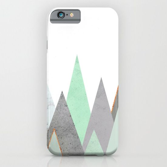 Protect your iPhone with a one-piece, impact resistant, flexible plastic hard case featuring an extremely slim profile. mint, teal, copper, gold, turquoise, circle, concrete, gray, mountains, triangles, minimalist, geometry, geometric, Scandinavian, minimal, mid century, design, trend, white, fresh, modern, society6, print, tapestry, window curtains, bathroom, bedroom
