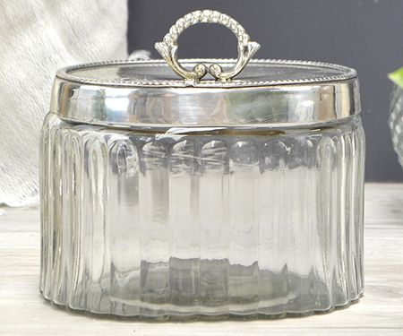 Claude Silver Lid Glass Box Oval