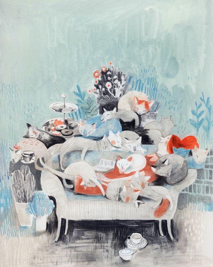 Isabelle Arsenault. Salon d'une mémère à chats.