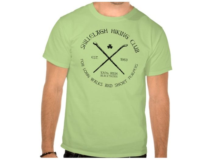 Shillelagh Hiking Club, Style is Basic T-Shirt, color is Lime