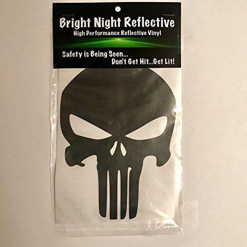 large black reflective punisher skull decal sticker