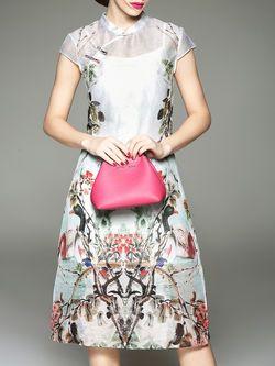 Floral-print Linen Silk Midi Dress
