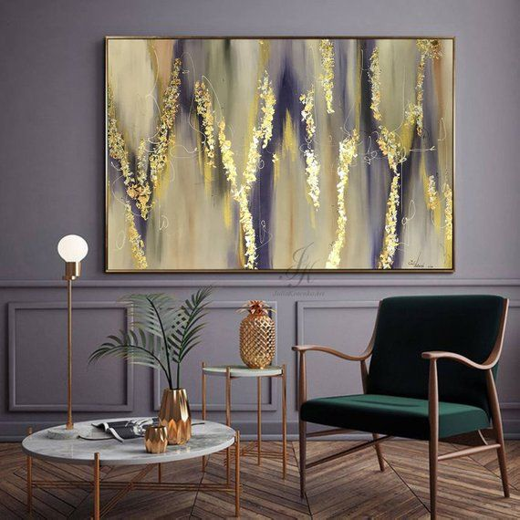 Large Abstract Oil Painting Gold leaf Abstract Wall Art Gold Painting Wall Decor Modern Art Original Painting On Canvas by Julia Kotenko – Amparo Luengo Perez