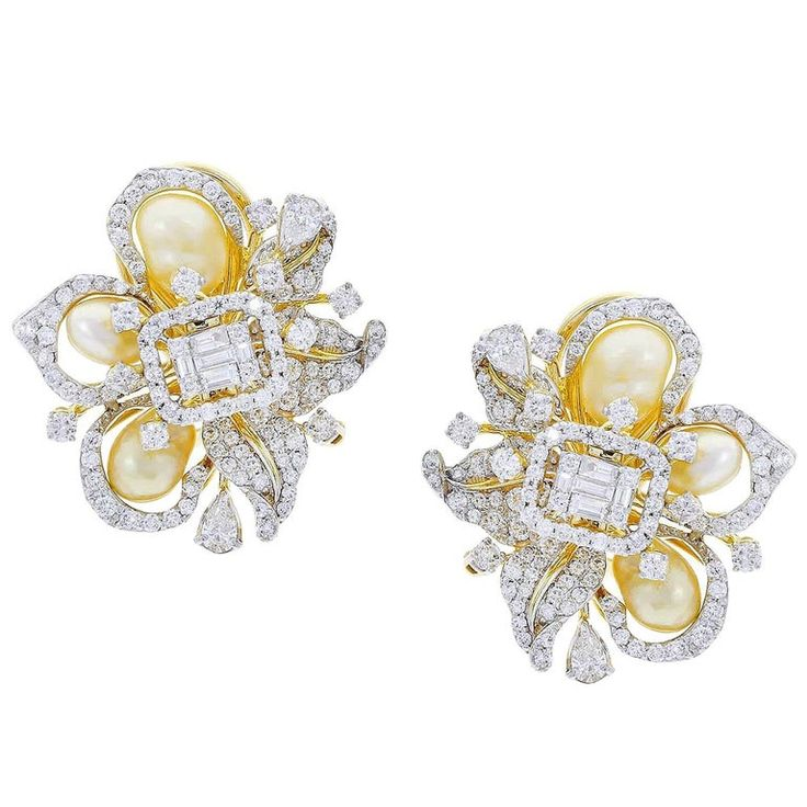 Fine Ribbon-Style Pearl and Diamond Earrings, 18K Yellow Gold by D'Deco