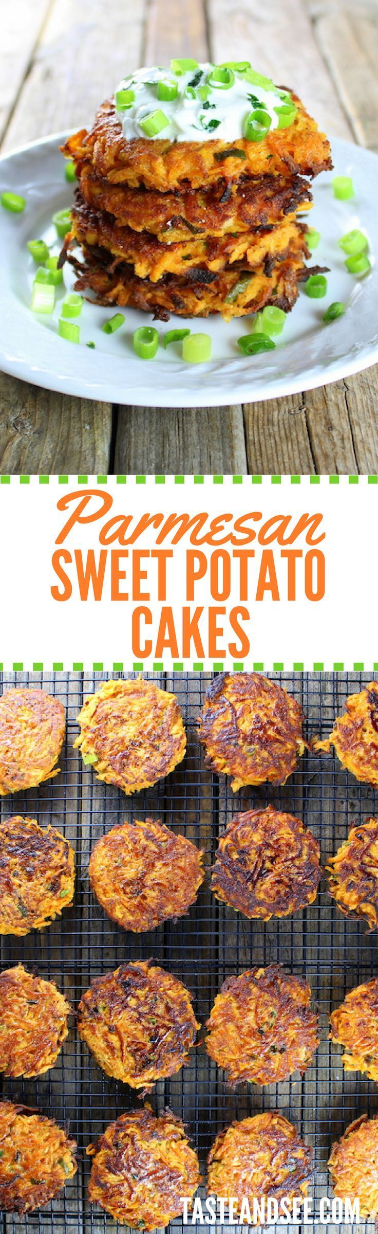 Parmesan Sweet Potato Cakes: Savory & cheesy, a bit smoky, w/a touch of sweet. tasteandsee.com