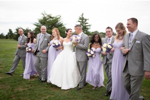 Light Purple and grey-silver tuxedos wedding theme dresses                                                                                                                                                     More
