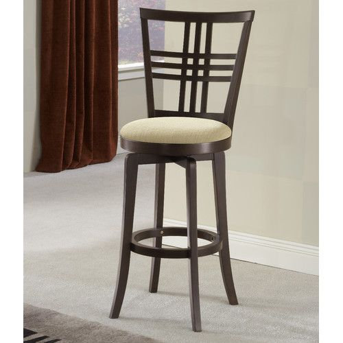 "Hillsdale Furniture Tiburon II 24"" Swivel Bar Stool with Cushion ($149.99, was $269.99) By using balanced and precise lines, Hillsdale Furniture has created a counter stool that is as stylish as it is practical. With an espresso finish, clean tapered legs, and a neutral ivory fabric seat, this Tiburon II stool is versatile in a number of settings. The counter stool bridges the gap between traditional and contemporary design to become a perfect addition to you bar area or kitchen."