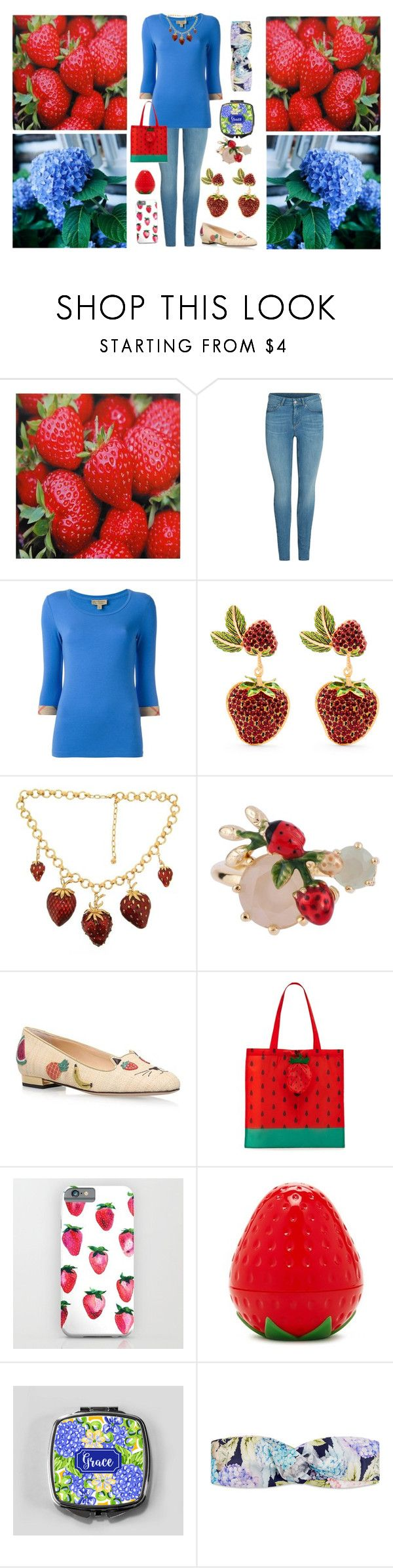 """""""Strawberry & Hydrangea"""" by pinky-dee ❤ liked on Polyvore featuring Burberry, Dolce&Gabbana, Les Néréides, Charlotte Olympia, Forever 21 and Gucci"""