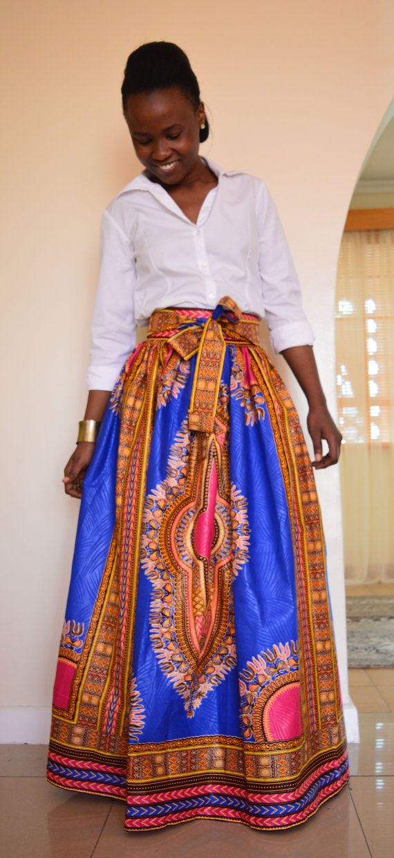 African print dashiki skirt Mali maxi skirt with by SobaClothing