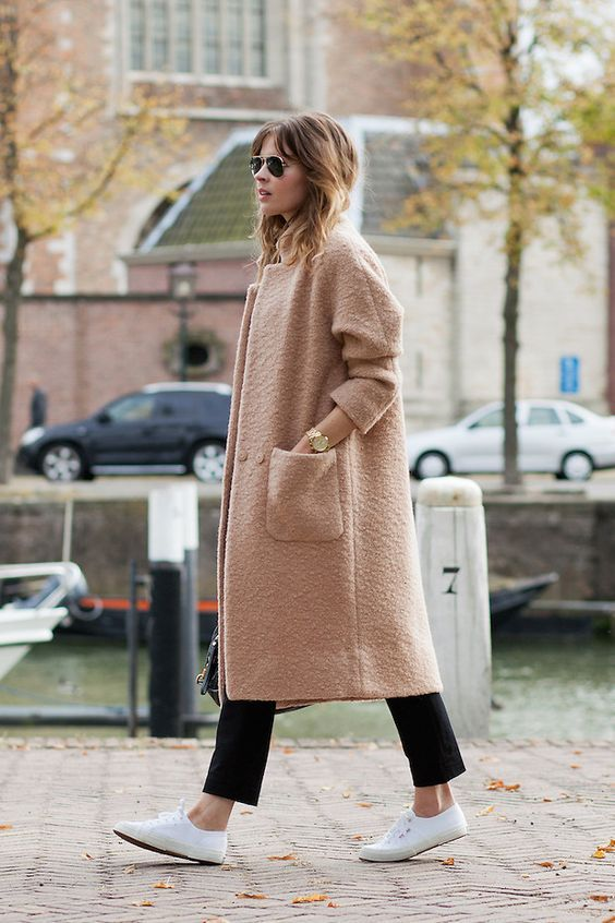 @roressclothes closet ideas #women fashion outfit #clothing style apparel Oversized Coat and White Shoes