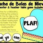 LUCHAS DE BOLAS DE NIEVE ... PLAF! {133 Spanish Sight Words!!!} From Smart Tarts Learning ---------------------------------------------------------...