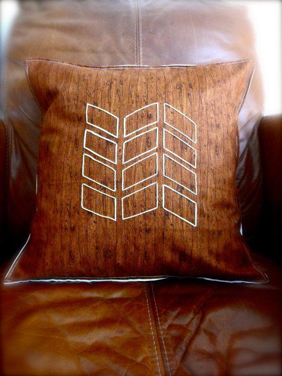 Geometric aztec handmade embroidered pillow by RainsEmporium, £19.99