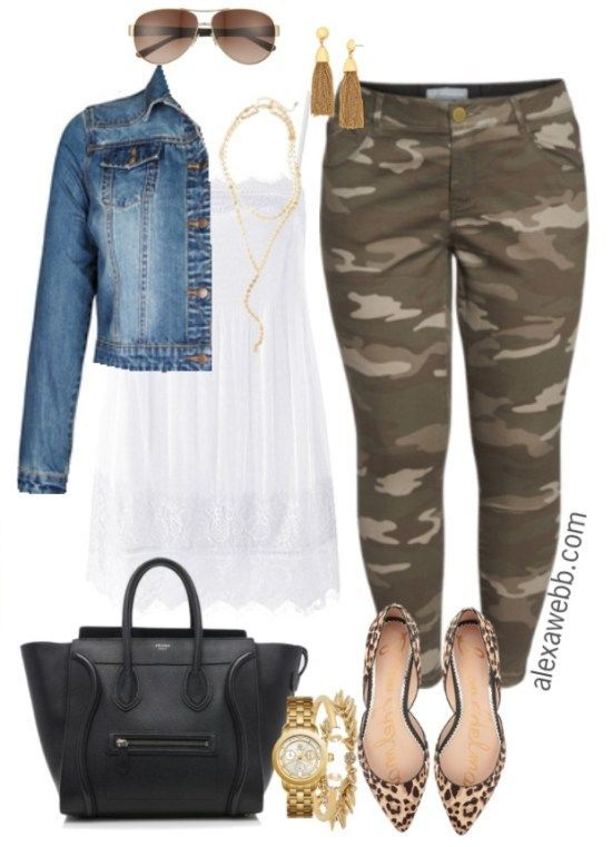 Plus Size Camo Pants Outfit - Plus Size Spring Outfit Idea - Plus Size Fashion for Women - alexawebb.com #alexawebb