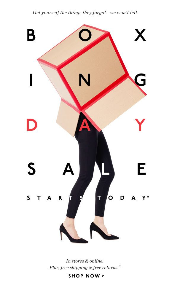 Love how the type is laid out over the photo. So simple. Not sure I understand the concept of a boxing day sale from the email...