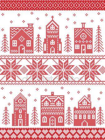 Zencefilli ev, kilise, küçük kasaba binalar, İskandinav tarzı ve İskandinav kültürü Noel ve köy desende dikiş tarzı çapraz şenlikli kış ilham ağaçlar ve kar kırmızı, beyaz — Stok İllüstrasyon #125775682