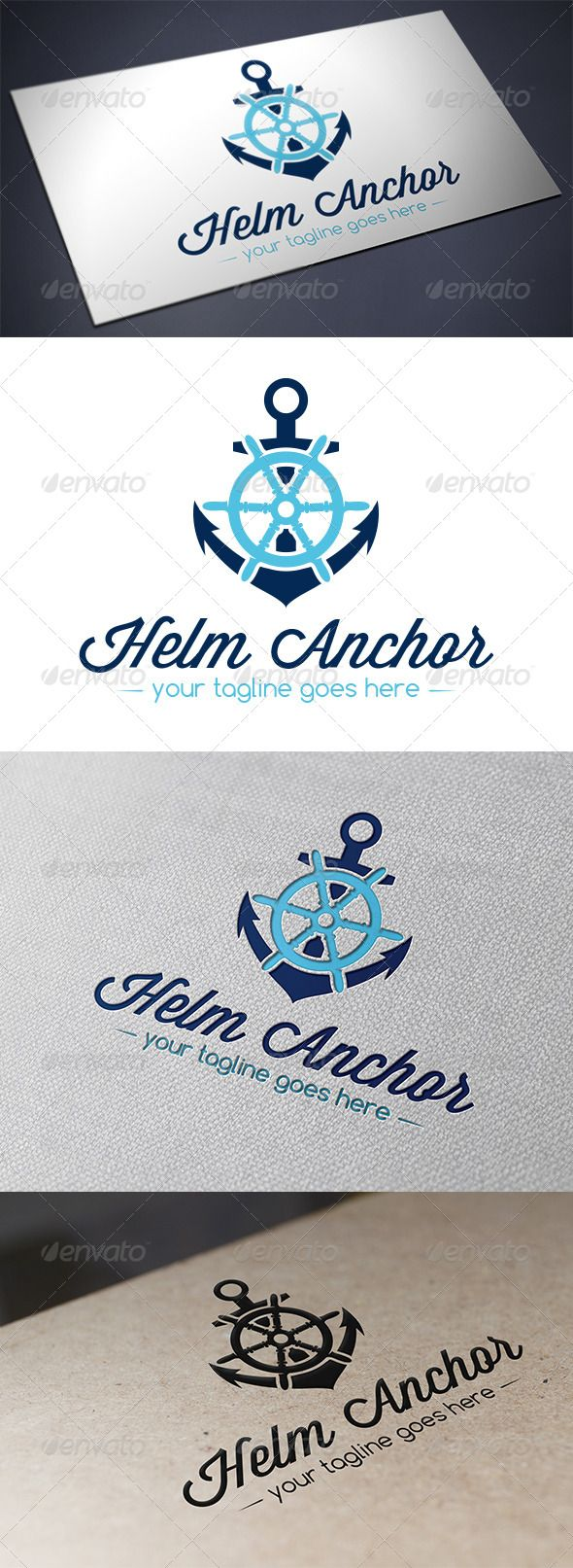 Helm Anchor Logo Template  #GraphicRiver         - Three color version: color, greyscale and single color.   - The logo is 100% resizable.   - You can change text and colors very easy using the named and organized layers that includes the file.   - The typography used is Wisdom Script