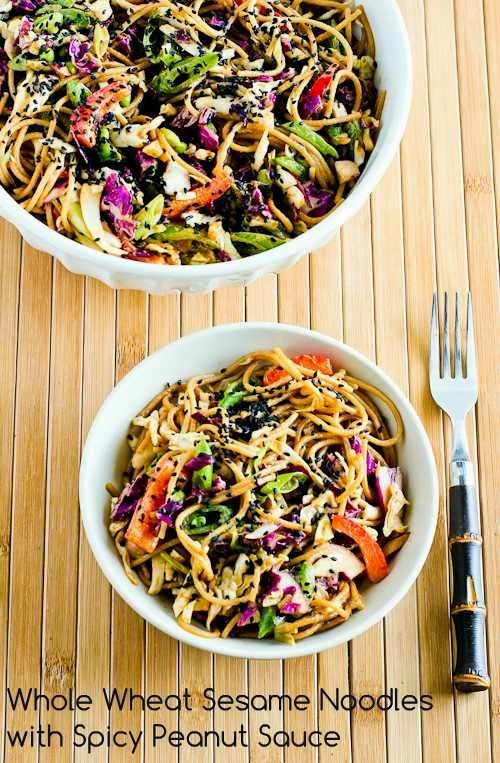 Whole Wheat Sesame Noodles with Spicy Peanut Sauce; this is a great meatless meal made mostly from pantry ingredients.  [from Kalyn's Kitchen] #MeatlessMonday