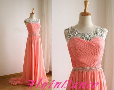 Coral Prom Dress Chiffon Long Evening Gowns With Silver