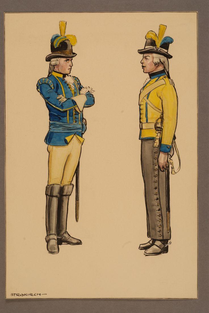 Officer and rider at Västgöta regiment of horse about 1781 by by Einar von Strokirch