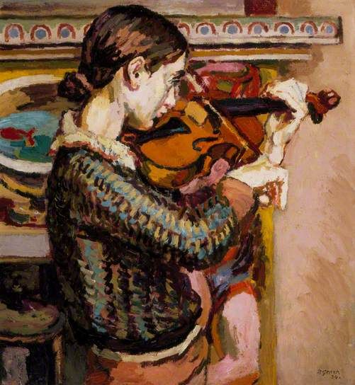 ♪ The Musical Arts ♪ music musician paintings - Duncan Grant | Angelica Playing the Violin