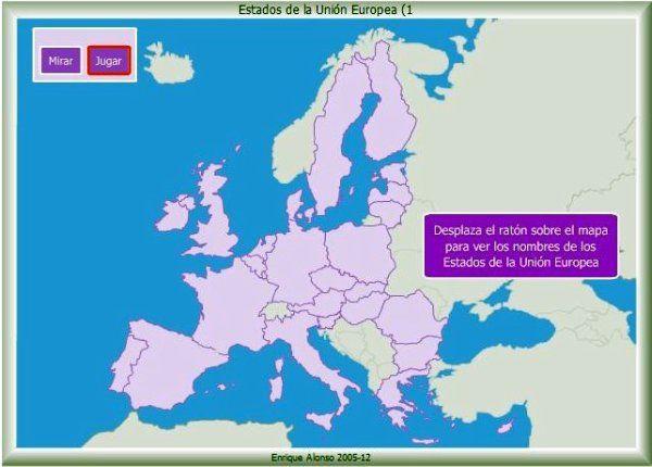 Los Mapas Interactivos de Estados de la Unión Europea de Enrique Alonso sirven para nombrar, localizar y situar de forma gráfica los países de la Unión, evaluando el conocimiento demostrado.