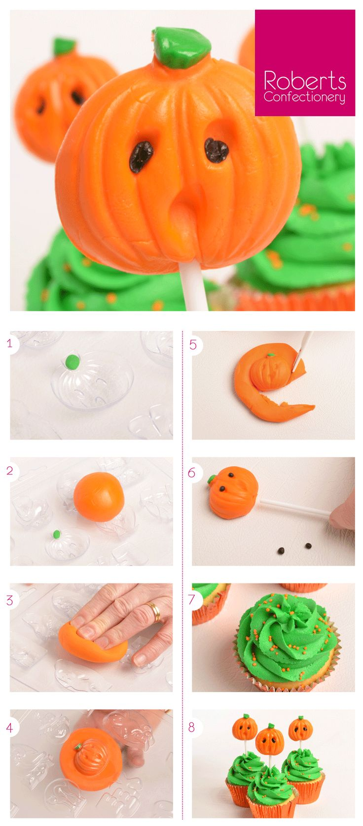 Pumpkin Pops - using Roberts Confectionery Halloween Mould