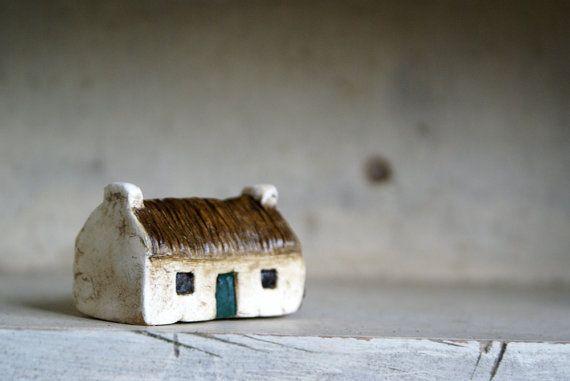 Miniature Irish Cottage Hand Painted Paper Clay door HomespunIreland