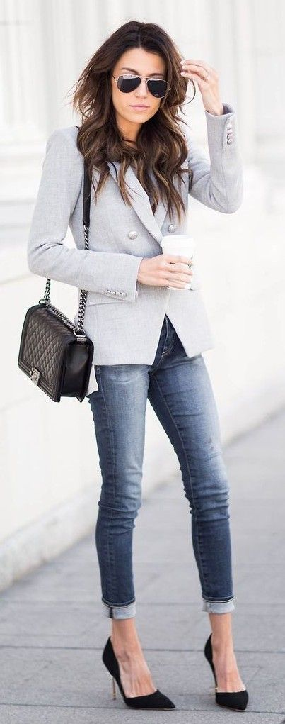 Grey blazer, taupe dolman top, black suede heels, chanel bag | These 3 Pieces Will Instantly Transform Your Basics | Hello Fashion                                                                             Source