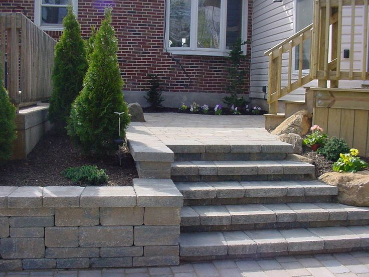 Steps and retaining wall.