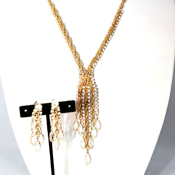 Gold Tone Linked Chain Necklace w/ Clear Rhinestones and Dangling Crystals Necklace by GenusJewels on Etsy
