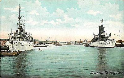 Brooklyn New York NY 1909 Brooklyn Navy Yard Ships East River Vintage Postcard