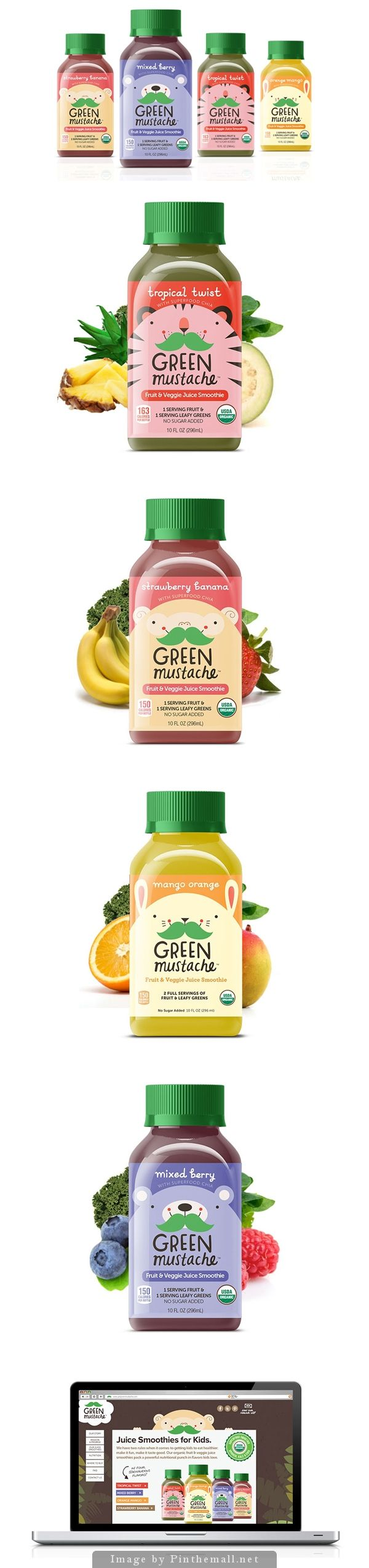 Green Mustache kids #smoothie #packaging by Motto - http://www.packagingoftheworld.com/2014/10/green-mustache.html