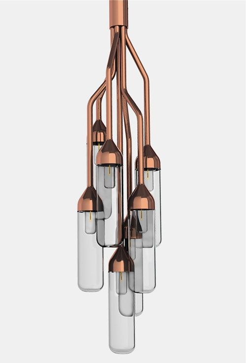 Furor lamp: A beautiful lamp from Lima De Lezando. Made of 7 curving metal pipes. Reminds me of vacuum tubes in the best way.