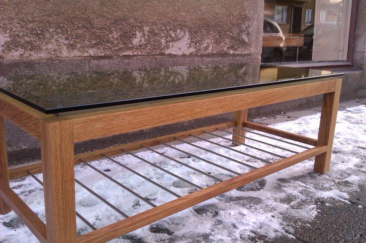 Soffbord /ek/rostfritt stål/glas.