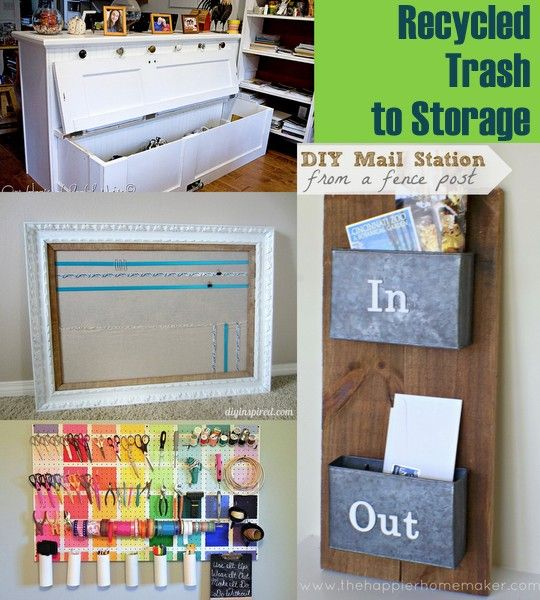 20 Plus Recycled Storage Solutions ~ * THE COUNTRY CHIC COTTAGE (DIY, Home Decor, Crafts, Farmhouse)