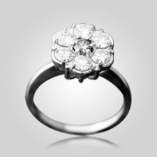 The Tiffany Cluster 7 Stones Cremation Ring is made from 14k Gold for cremation Diamond Stones.